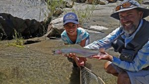 Elli Rayne Jeans with a nice rainbow from the upper Kern.